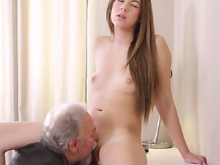 Czech Oral Sex Cunnilingus video: Sexy czech student fucked by her tricky old teacher on the desk