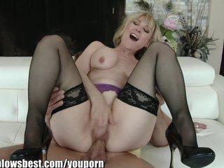 Stockings Pornstar Milf video: MommyBB Real MATURE Woman fucking her STEPSON