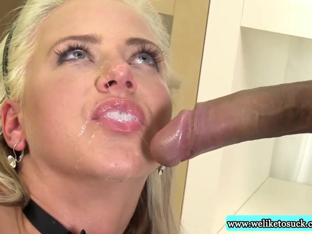 High Blonde Busty Blowjob Cock Drooling