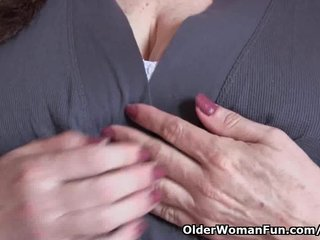Mom Grandma Busty Grandma video: Granny with big tits cleaning the kitchen