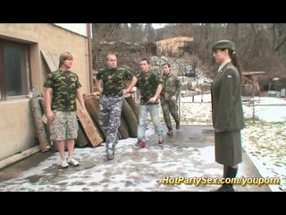 Bukkake Group Threesome video: military fuck orgy