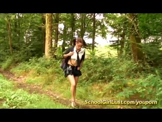 French Spanking video: french schoolgirl fucked in nature