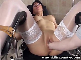 Big Boobs Fetish xxx: Busty brunette milf fisted by her gyno doctor