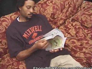 Bbw Black Ebony video: Ebony BBW Babe Cock Sucking On The Couch