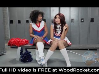 Ebony Teen Lesbian video: Black cheerleaders pussyfuck in the locker room