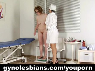 Lesbian doctor examines the patient