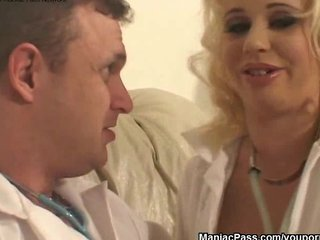 Blonde Hospital Nurse video: Upside down busty nurse fucking