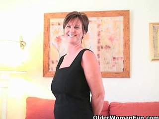 British Granny British Milf British Mom video: British granny Joy spreads her fuckable pussy
