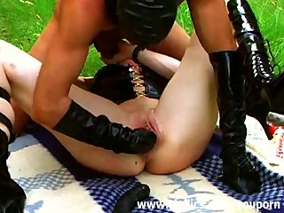Wild amateur babe fist fucked outdoors