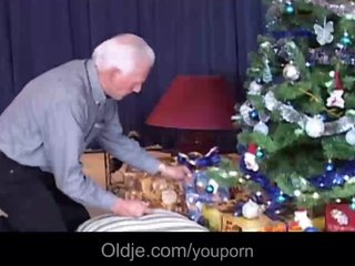 Grey oldman fucks his real doll-toy Christmas present