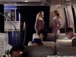 Stockings Blonde porno: Hot flight attendants threesome