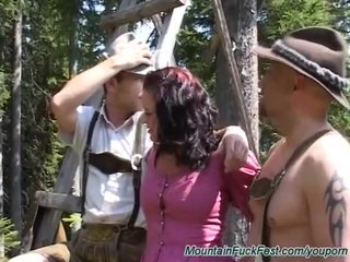 German Gangbang Threesome video: mountain fuck orgy