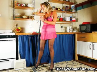 Busty Milf Milf Pantyhose Mom Nylon video: Cleaning the kitchen in pantyhose gets mom worked up