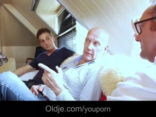 Gangbang Double Penetration Blonde video: Blonde assistant gang banged at a meeting by old farts