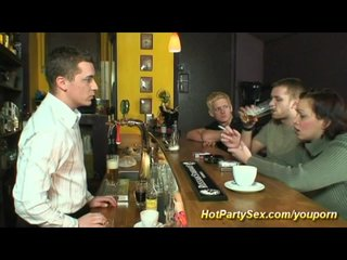 Bukkake Group Threesome video: party gangbang at the bar