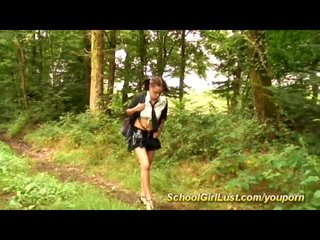 Spanking Schoolgirls College video: busty teen pickup in the forest for anal