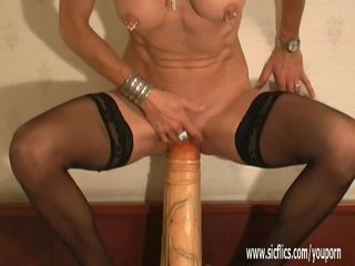 Gigantic dildo and foot fucked amateur MILF